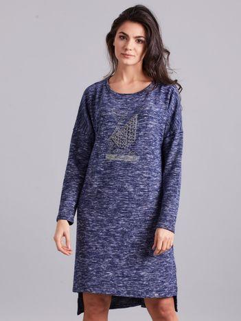Niebieska asymetryczna sukienka z aplikacją