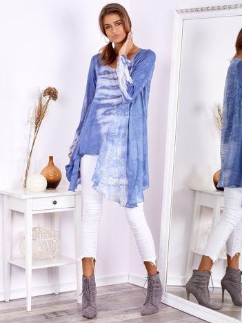 Niebieska asymetryczna tunika z jedwabiem