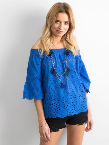 Niebieska ażurowa bluzka hiszpanka