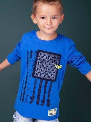 Niebieska bawełniana bluzka dla chłopca z nadrukiem