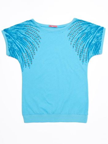Niebieska bawełniana bluzka dziewczęca z palmami