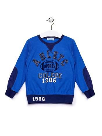 Niebieska bluza chłopięca z baseballowym nadrukiem