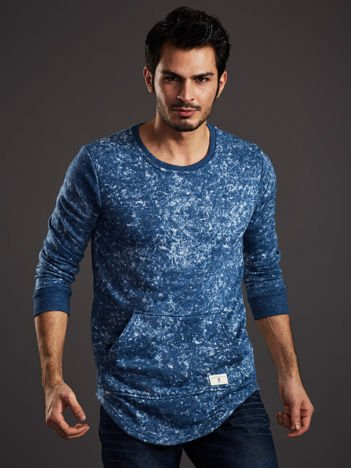 Niebieska bluza męska acid wash z kieszenią kangur