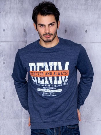 Niebieska bluza męska z printem w amerykańskim stylu