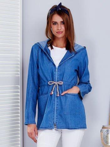 Niebieska bluza z kapturem