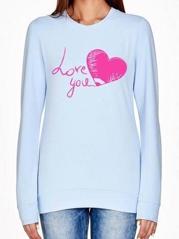 Niebieska bluza z napisem LOVE YOU