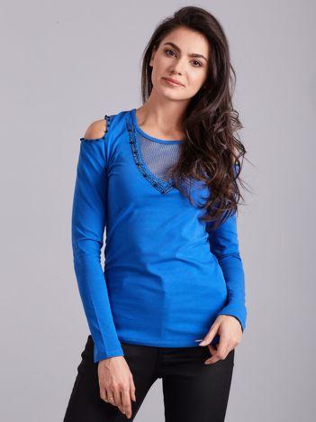 Niebieska bluzka cold shoulder z aplikacją