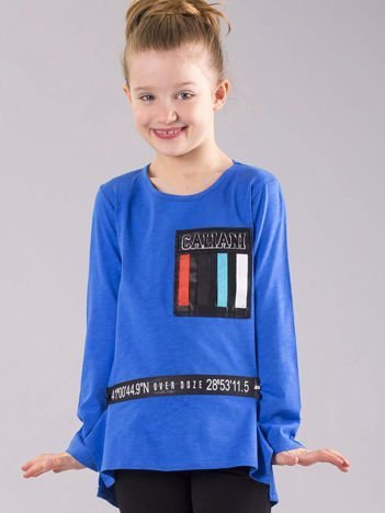 Niebieska bluzka dziewczęca z aplikacjami