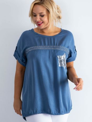 Niebieska bluzka plus size z cekinami