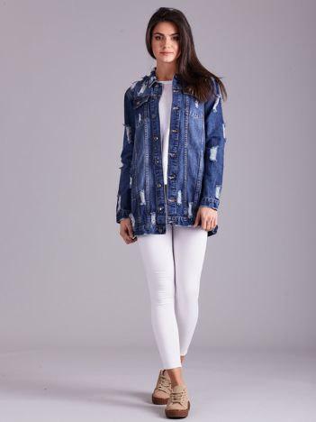 Niebieska damska jeansowa kurtka z przetarciami