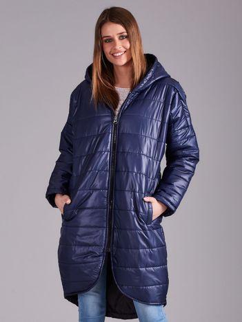 Niebieska długa kurtka przejściowa