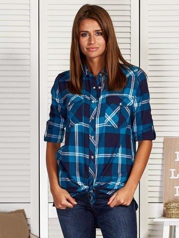 Niebieska koszula damska w kratkę