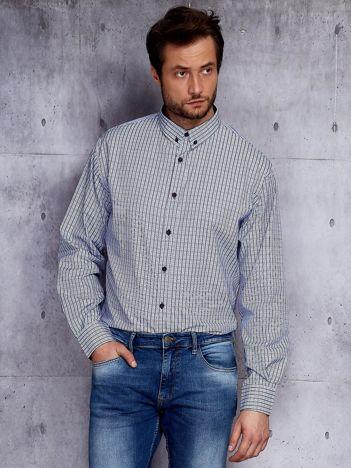 Niebieska koszula męska drobna kratka PLUS SIZE