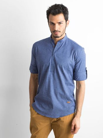 Niebieska koszula męska regular fit ze stójką