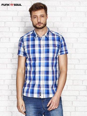 Niebieska koszula męska w kratę FUNK N SOUL