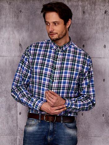 Niebieska koszula męska we wzór kratki PLUS SIZE