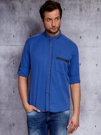 Niebieska koszula męska z zamszowymi modułami PLUS SIZE
