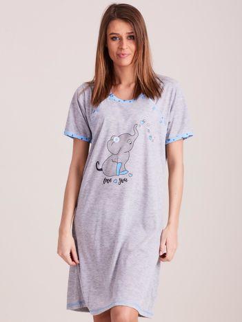 Niebieska koszula nocna do karmienia