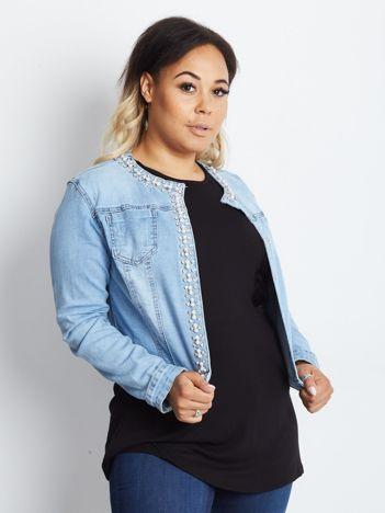 Niebieska kurtka jeansowa plus size Shimmers