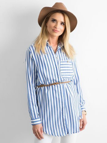 Niebieska luźna koszula w paski