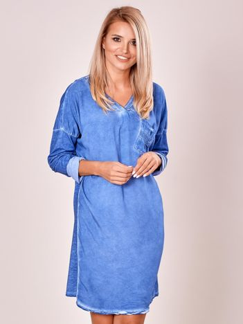 Niebieska luźna sukienka damska