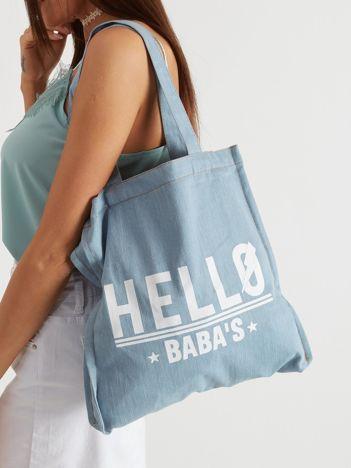 Niebieska materiałowa torba damska