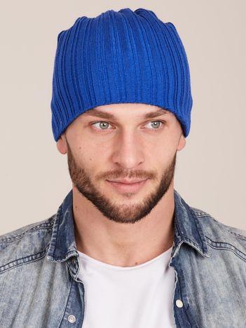 Niebieska męska czapka w prążek