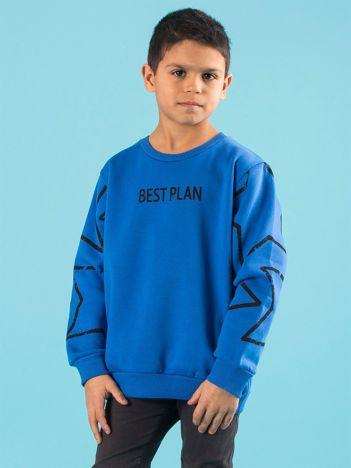 Niebieska ocieplana bluza dziecięca z nadrukiem