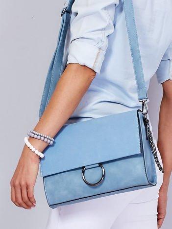 Niebieska prostokątna torba z odpinanym paskiem