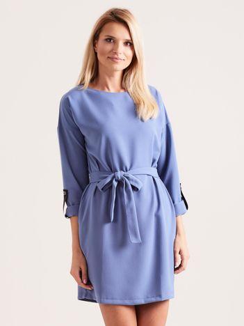 b7a52a7147 Niebieska sukienka damska z paskiem