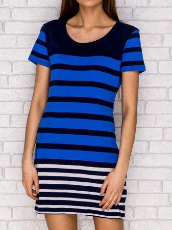 Niebieska sukienka dzienna w paski