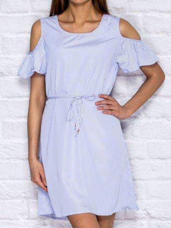 Niebieska sukienka letnia cut out w paski