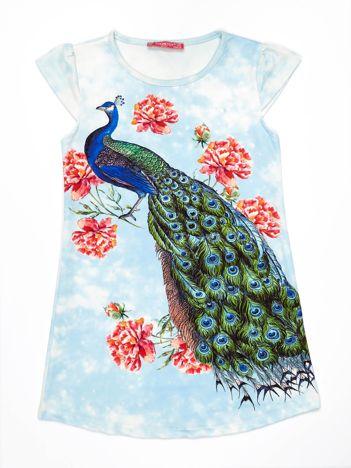 Niebieska sukienka z pawiem