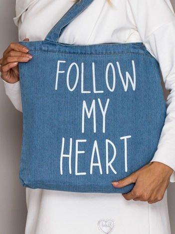 Niebieska torba jeansowa FOLLOW MY HEART
