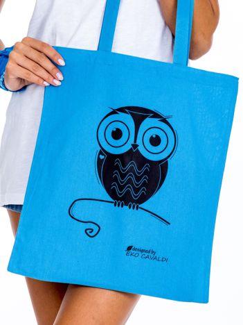 Niebieska torba materiałowa z sową