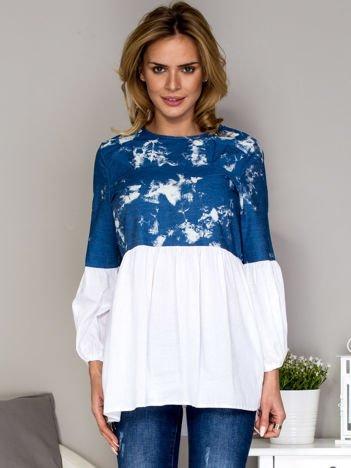 Niebieska tunika z szerokimi rękawami