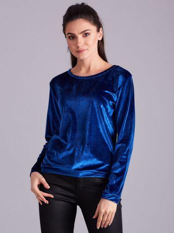 Niebieska welurowa bluza damska