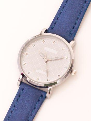 Niebieski Mały Zegarek Damsk Z Kryształami Na Tarczy