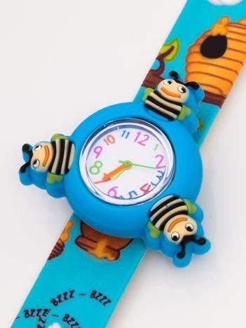 Niebieski OBROTOWY zegarek dziecięcy z paskiem typu SLAP