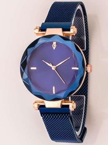 Niebieski Zegarek Damski Z Nowoczesnym Magnetycznym Paskiem