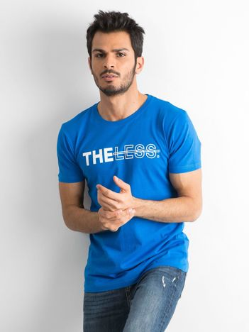 Niebieski bawełniany t-shirt męski z nadrukiem