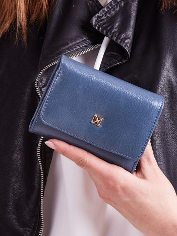 Niebieski damski portfel z ekoskóry