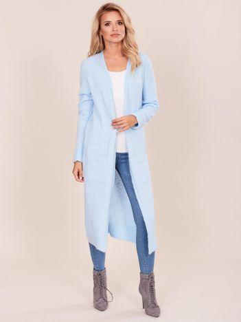 Niebieski długi sweter damski