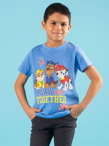 Niebieski dziecięcy t-shirt z nadrukiem PSI PATROL