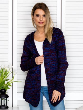 Niebieski melanżowy sweter z kapturem