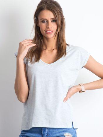 Niebieski melażowy t-shirt Vibes