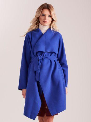 Niebieski płaszcz z kieszeniami i wiązaniem