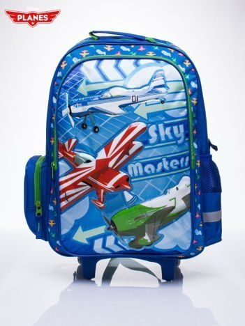 Niebieski plecak szkolny na kółkach walizka DISNEY Samoloty