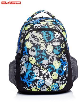 Niebieski plecak szkolny z motywem kolorowych czaszek