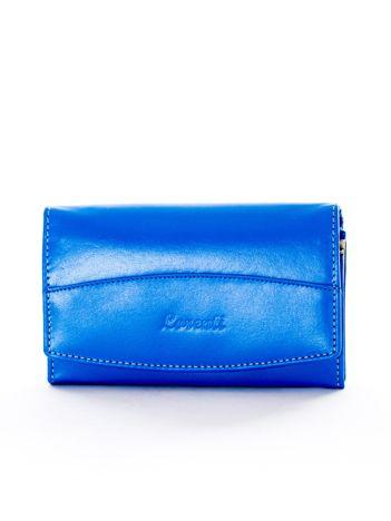 Niebieski portfel damski skórzany